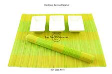 6 Manteles Individuales Hecho a mano de bambú Tabla esteras, Amarillo-Verde Marrón P016