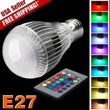 E27 9W RGB LED Lamp Light Bulb Color Changing W/ IR Remote Control Multi Color