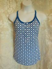 XL HURLEY Spaghetti Strap Knit Top blue & white tank cami pullover blouse New
