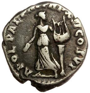 ROMAN SILVER COIN AR DENARIUS - COMMODUS - APOLLO (RIC 218) 18mm 2,70g