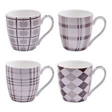 Set of 4 Large Tea Coffee Mugs Ceramic Gloss Brown/Beige Check Plaid Design