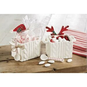 Mud Pie H0 Classic Christmas Cable Knit Tartan Candy Caddy and Spoon Set 4854086