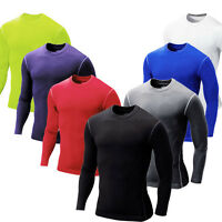 Mens Compression Long sleeve Shirt sports Body Fit Base thermal Layer jersey Top