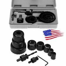 """11Pcs Hole Saw Cutting Drill Bit Kit 3/4"""" to 2 1/2"""" Mandrel Wood Metal Tools USA"""