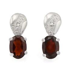 Ohrringe/Ohrstecker Geri, 925er Silber, 0,96 Kt. echter Granat/Diamant
