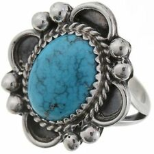Ring Size 9 Sterling Silver Women Natural Kingman Navajo Jewelry Authentic