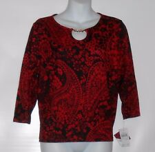 C.D. Petites Cathy Daniels 3/4 Sleeve Paisley Pullover Knit Top Red & Black PL
