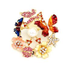 Betsey Johnson Enamel Crystal Butterfly Beetles Flower Charm Women's Brooch Pin