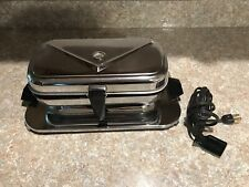 Vintage Standard Appliance Stainless Waffle Iron Maker On Base Rectangle Chrome