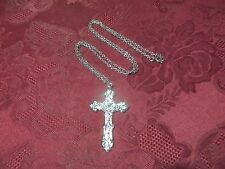 """White Gold Plated 2.5"""" Cross Necklace 24"""" Cable Chain"""