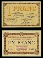 1917-18 Locally Issued One Franc Puy De-Dome France Chamber of Commerce Banknote