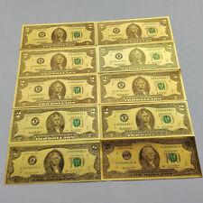 10pcs USD 2 dollar 24K Gold Foil Golden Paper Money Banknotes Crafts UNC
