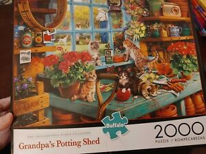 Buffalo Games Puzzle Grandpa's Potting Shed Kittens 2000 Pieces