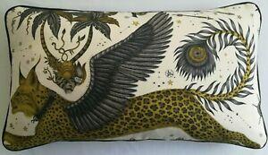 Emma J Shipley LYNX GOLD cushion **FREE FEATHER PAD** 65cm x 37cm