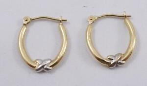 14K yellow +white gold ladies hoop earrings .5g