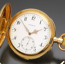 Rare 14K Rose Gold Hy Moser & CE 24-Jewel Minute Repeater Pocket Watch 18 Size
