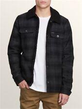 Volcom Sherpa Lined Keaton Jacket Charcoal Plaid Mens Medium