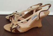 PRADA 2012 Flame Collection Tri Color Patent Leather Skinny Wedge Heel Sandals 6