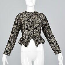 XS Vintage 1980s 80s does 50s Sheer Black Velvet Gold Peplum Blouse Top Shirt