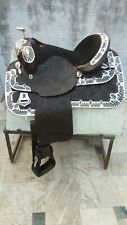 "Western show saddle 16"" on Eco- leather buffalo black color on drum dye finish"