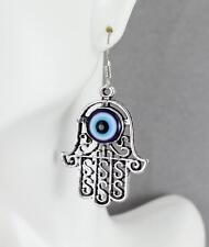 "Silver hamsa earrings metal filigree dangle evil eye 2"" long hand of fatima"