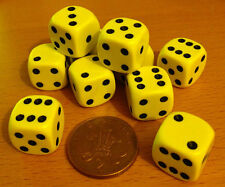 Dice - 10 x 16mm 6 sided spot dice - YELLOW