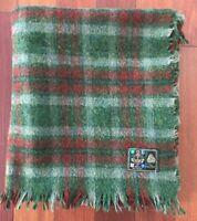 Irish Wool Blanket Stadium Lap Car Throw Green Red Plaid Fringe Lucan 57x48 E6