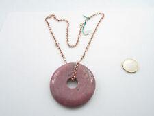 collana ciondolo in rodonite tondo diam. 60 mm.e catena rolò in argento 925 rosè