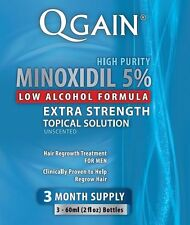 Qgain MINOXIDIL 5% Low Alcohol Formula 3 Month Supply Free Shipping Worldwide