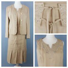 Gerry Weber UK 14/16 4 Piece Suit Beige 100% Linen Beaded  Mother of the Bride