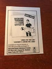 """1981 VINTAGE 4X5"""" ALBUM PROMO PRINT Ad RICHARD THORNE AND THE SIDE EFFECTS DEBUT"""