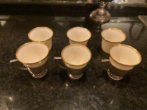 Set of 6 Lenox Porcelain Gold Rim Demitasse Tea Egg Cup Liner Insert 3 Sterling