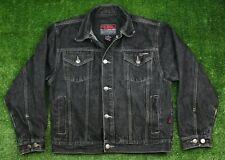 Vintage FUBU Denim Jean Jacket Coat Youth Size Medium Hip Hop Black