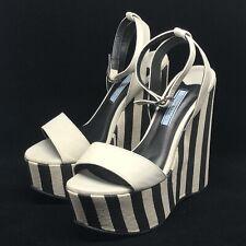 Tony Bianco Size 6 Black White Wedge High Heels Platform Ankle Strap Striped