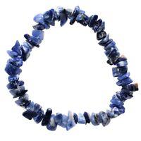 CHARGED Sodalite Crystal Chip Bracelet Tumble Polished Stretchy ENERGY REIKI