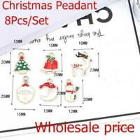 8PCS XMS Enamel Charm Christmas Tree/Snowman/Santa Claus/Moon Bead Pendant Gift