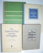 4 x alte Schneider Bücher Handarbeit Wäscherei Plätterei Zuschneide - Kunst !