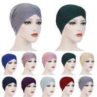 Women Muslim Hijab Cotton Stretchy Hat Turban Head Wrap Bandana Scarf Caps K2F9
