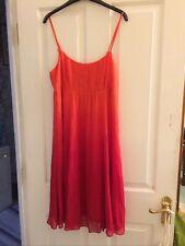 Marks & Spencer Flame Orange Red Silk Dress Size 16