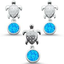 Blue Opal & Cz Turtle Earring & Pendant .925 Sterling Silver Set