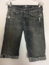 Seven For All Mankind Dojo 26 Jeans Cropped Capri Pants Stretch Distressed