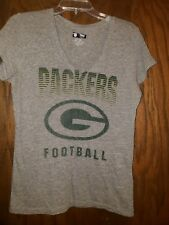 GREEN BAY PACKERS WOMENS MARLED GREY VNECK. GENTLY USED. SIZE LARGE