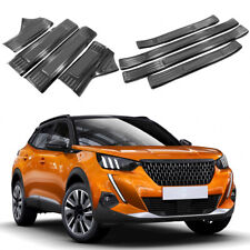 Steel Black Inner + Outer Door Sill Scuff Plate 8pcs For Peugeot 2008 2020