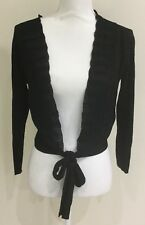 Jacqui E Tie Front Crop Ribbed Cardigan Black Size XS 8-10