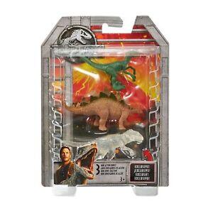 Jurassic World Mini Stegosaurus, Velociraptor, & Transparent Indominus Figures,