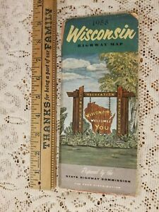 VINTAGE 1958 MAP WISCONSIN STATE HIGHWAY