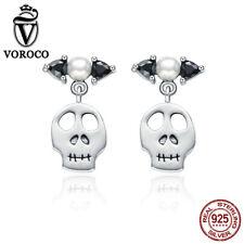 Voroco 925. Sterling Silver Earrings Special Design Skeleton For Women's Jewelry