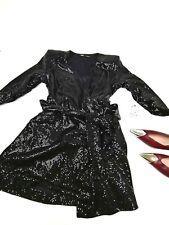 Zara Woman Sparkle Black Blazer Party Dress with Tie Large L