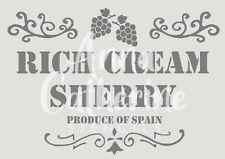 Rich cream sherry french shabby chic stencil 190 micron mylar, A3 A4 A5