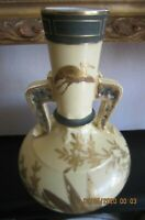 Antique GD & C Limoges France Depose Handled Vase Hand Ptd. Bird w/ Gold